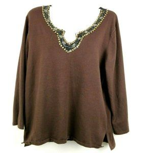 Cable Gauge Beaded Sequins 3/4 Sleeve Blouse